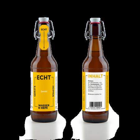 Echt Zwickl Bier - Vorderseite und Rückseite