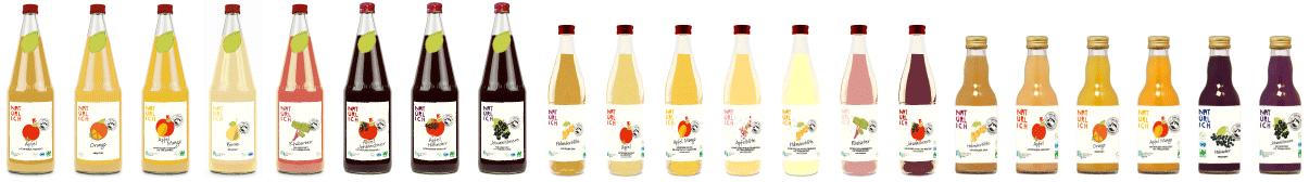 Produktpalette - Saftflaschen in einer Reihe