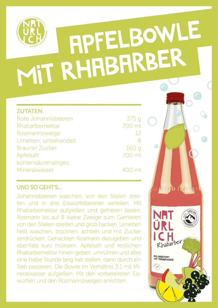 Rezepte für Drinks - Apfelbowle mit Rhabarber